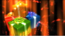 Royalty Free Video of Rotating Presents With Shimmering Lights