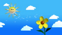 Royalty Free Video of a Cloudy Sky With a Sun and Flower Waving
