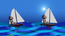 Royalty Free Video of Teddy Bears Sailing on Water