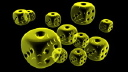 Royalty Free Video of Spinning Yellow Opaque Dice