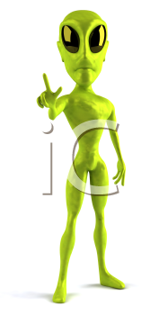 Royalty Free Clipart Image of a 3D Alien Giving a Peace Sign