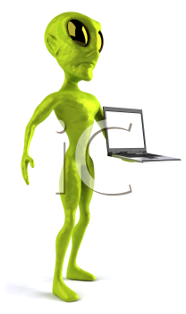 Royalty Free Clipart Image of an Alien With a Laptop