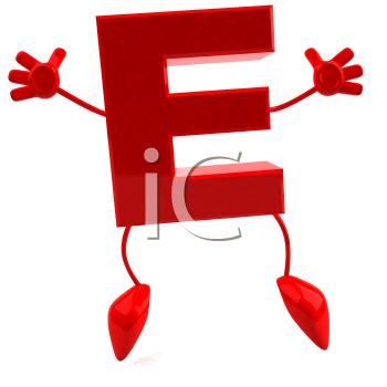 Royalty Free 3d Clipart Image of the Letter E Jumping