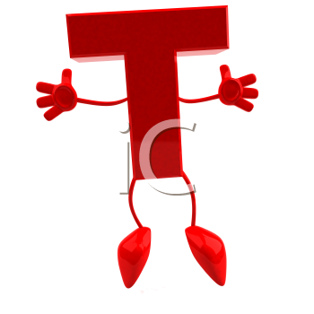 Royalty Free 3d Clipart Image of the Letter T Jumping
