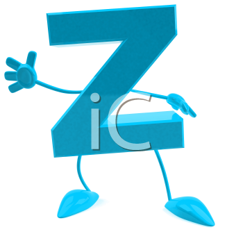 Royalty Free 3d Clipart Image of the Letter Z Waving