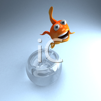 Royalty Free Clipart Image of a Fish Jumping Out of a Fishbowl