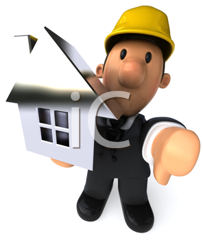 Royalty Free Clipart Image of a Builder With a House