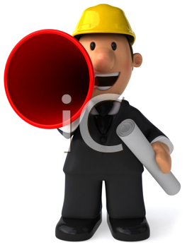 Royalty Free Clipart Image of an Architect With a Bullhorn