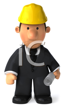 Royalty Free Clipart Image of a Man in a Hard Hat