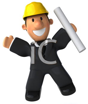 Royalty Free Clipart Image of a Man in a Hard Hat With His Arms Raised
