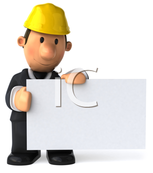 Royalty Free Clipart Image of a Man in a Hard Hat Holding a Blank Sign