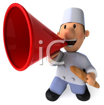 Royalty Free Clipart Image of a Baker With a Bullhorn