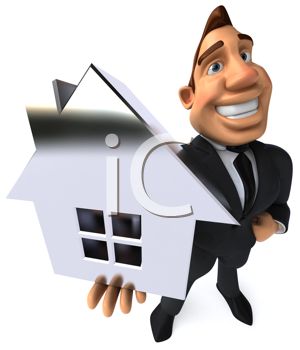 Royalty Free Clipart Image of a Business Man Holding a House