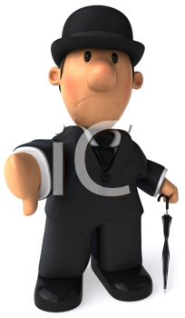 Royalty Free Clipart Image of a Dapper Gentleman Giving a Thumbs Down