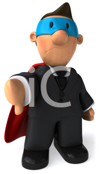 Royalty Free Clipart Image of a Superhero Businessman Giving a Thumbs Down