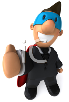 Royalty Free Clipart Image of a Superhero Businessman With His Thumb Up