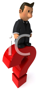Royalty Free Clipart Image of a Guy in a Business Suit Standing on a Question Mark