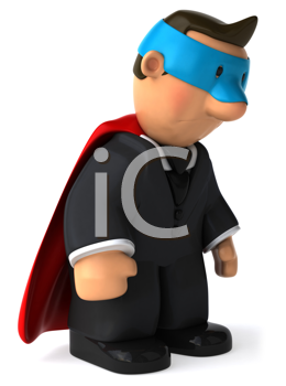 Royalty Free Clipart Image of a Dejected Superhero Businessman