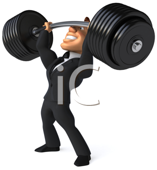 Royalty Free Clipart Image of a Businessman Lifting Weights