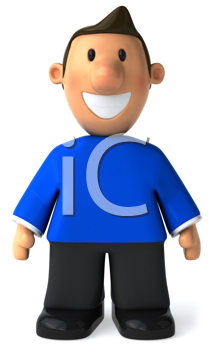 Royalty Free Clipart Image of a Man in a Blue Sweater