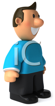 Royalty Free Clipart Image of a Guy in a Turquoise Sweater