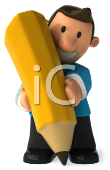 Royalty Free Clipart Image of a Man With a Huge Pencil
