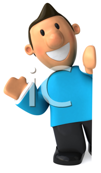 Royalty Free Clipart Image of a Man in a Sweater Waving