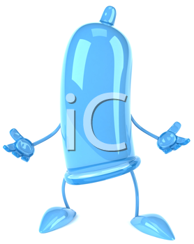 Royalty Free Clipart Image of a Blue Condom
