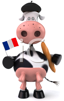 Royalty Free Clipart Image of a French Cow