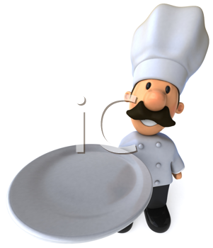 Royalty Free Clipart Image of a Chef With Empty Plate