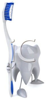 Royalty Free Clipart Image of a Tooth and a Toothbrush