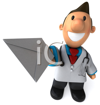 Royalty Free Clipart Image of a Doctor With an Envelope