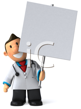 Royalty Free Clipart Image of a Doctor With a Sign