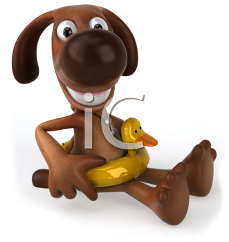 Royalty Free Clipart Image of a Dog in a Duck Float