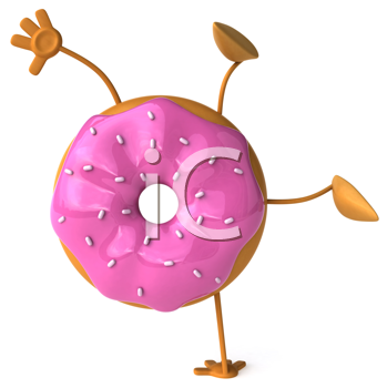 Royalty Free Clipart Image of a Pink Glazed Doughnut