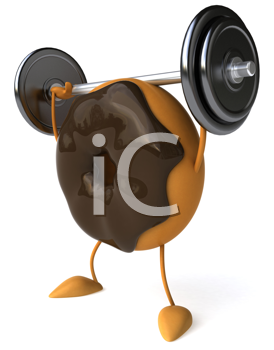 Royalty Free Clipart Image of Doughnut Lifting a Barbell