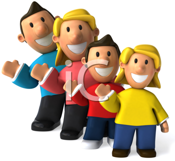 Royalty Free Clipart Image of a Family Waving