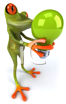 Royalty Free Clipart Image of a Frog With a Lightbulb