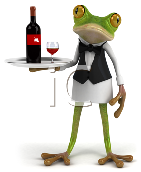 Royalty Free Clipart Image of a Frog Waiter Serving Wine
