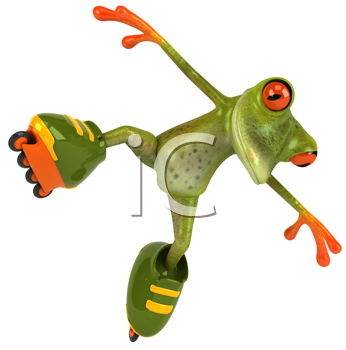 Royalty Free Clipart Image of a Roller Skating Frog