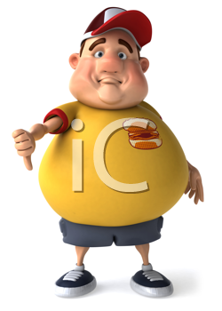 Royalty Free Clipart Image of an Overweight Man Giving a Thumbs Down