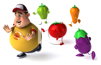 Royalty Free Clipart Image of an Overweight Man Being Chased By Vegetables