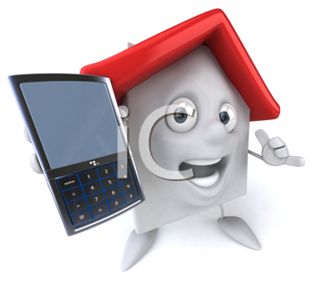Royalty Free Clipart Image of a House With a Cellphone