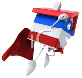 Royalty Free Clipart Image of a Super Red, White and Blue House