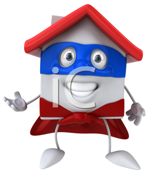 Royalty Free Clipart Image of a Superhero House