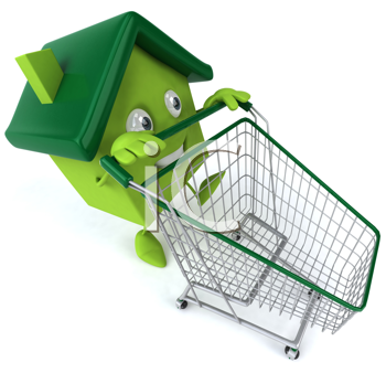 Royalty Free Clipart Image of a Green House Pushing a Shopping Cart