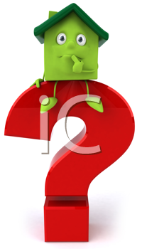 Royalty Free Clipart Image of a Green House Sitting Thinking on a Red Question Mark