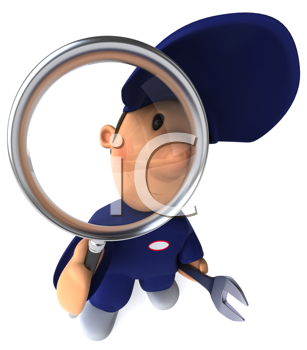 Royalty Free Clipart Image of a Mechanic Behind a Magnifying Glass