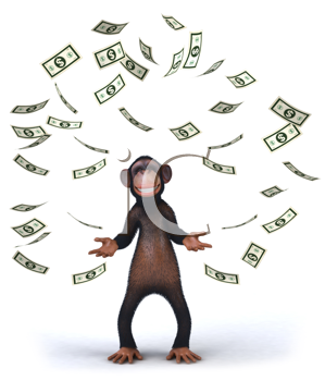 Royalty Free Clipart Image of a Monkey Throwing Dollar Bills