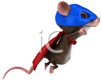 Royalty Free Clipart Image of a Superhero Mouse